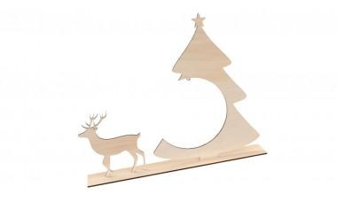 Dekoracja świąteczna: Stojak na bombkę 3D, renifer i choinka