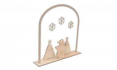 Dekoracja świąteczna 3D, śnieżynki, choinki, mikołaj, podstawka
