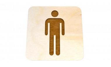 Znaczek: Toaleta męska, WC męski grawerowany